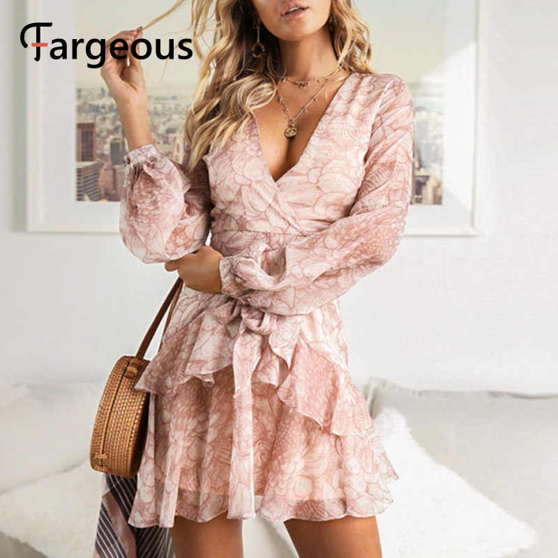 2019 Long Sleeve Chiffon Women Dress Feminino Party Ruffle Dress Elegant Casual Vintage Autumn Winter Pink Dresses Vestidos