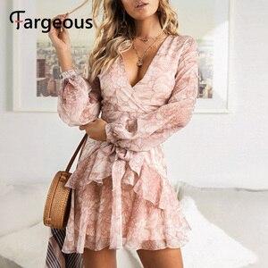 2019 Long Sleeve Chiffon Women Dress Feminino Party Ruffle Dress Elegant Casual Vintage Autumn Winter Pink Dresses Vestidos(China)