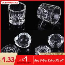 1Pc Acrylic Nail Cup Clear Crystal Bowl Acrylic Powder Liquid Holder Dappen Dish Salon Equipment Nail Art Design Tool