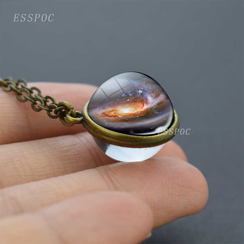 満月球クリスタルボールガラスネックレス手作り両面ガラスボールペンダントソーラーシステム宇宙天文学ジュエリー