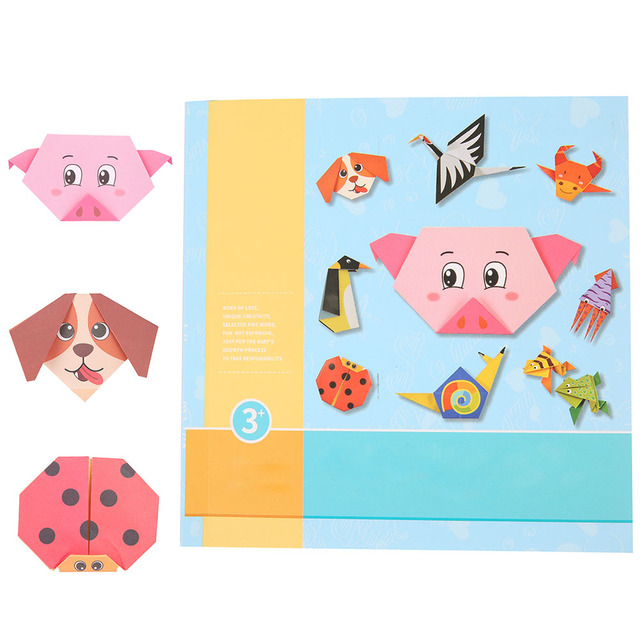 54pcs/set Origami Paper 3D Cartoon Animal Pattern Toy Kid Handmade DIY Color Papers Scrapbooking Craft Decoration Education Toys 6