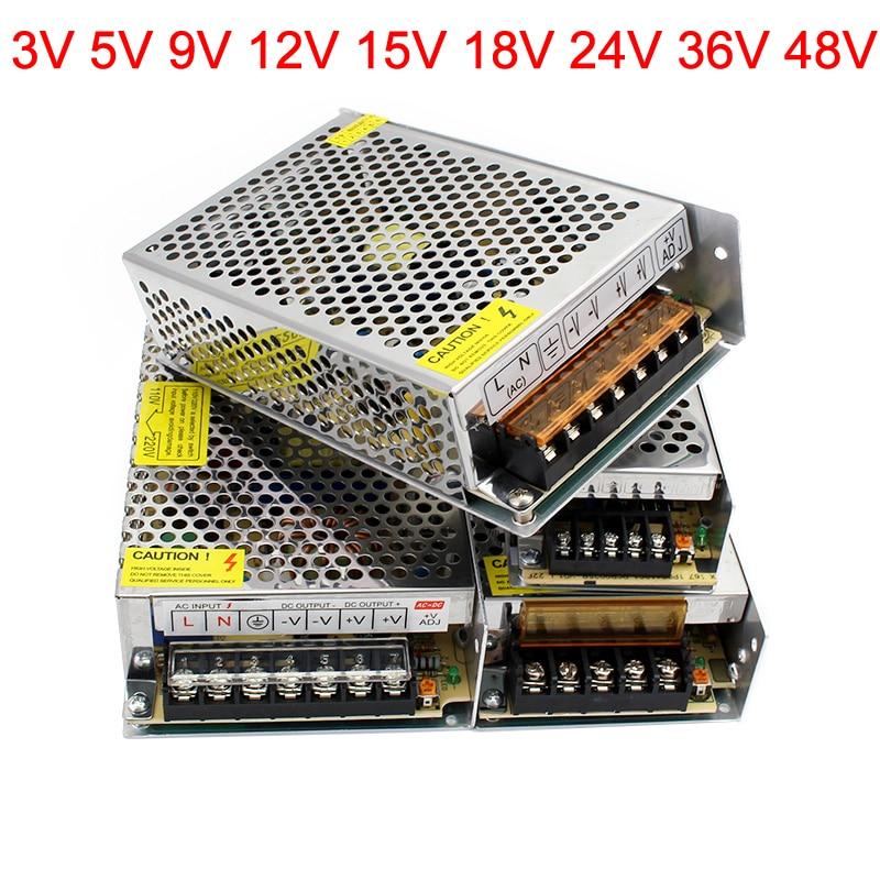 3 5 9 12 15 18 24 36 48 volts fonte de alimentação 220 v a 12 v adaptador de alimentação 5v 9v 12 v 24v 36v 48 v led driver para lâmpada de tira conduzida