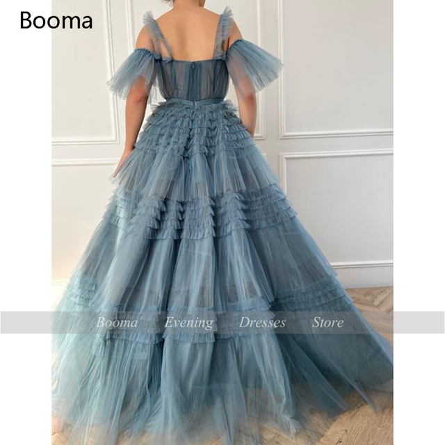 Booma Blue Long Prom Dresses Sweetheart Crumpled Tulle Ruffles Evening Dresses Off Shoulder Tiered A-Line Party Dresses Bow Belt 4