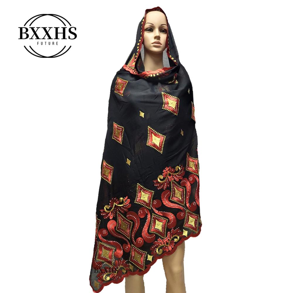 2019 New African Women Scarfs muslim embroidery soft cotton big scarf for shawls wraps pashmina