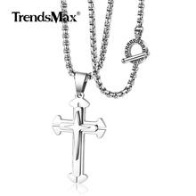 Trendsmax Cross Pendant Necklace For Mens Boys Gold Silver Black Crucifix Stainless Steel Box Chain Religious Jewelry TNS003(Hong Kong,China)