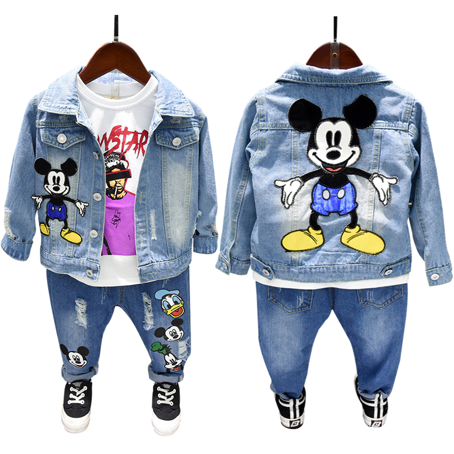 Spring Autumn boys 2 pcs set baby denim jacket + jeans kids suit children outfit toddler set mickey miki mous ripped 2 to 7 yrs(China)