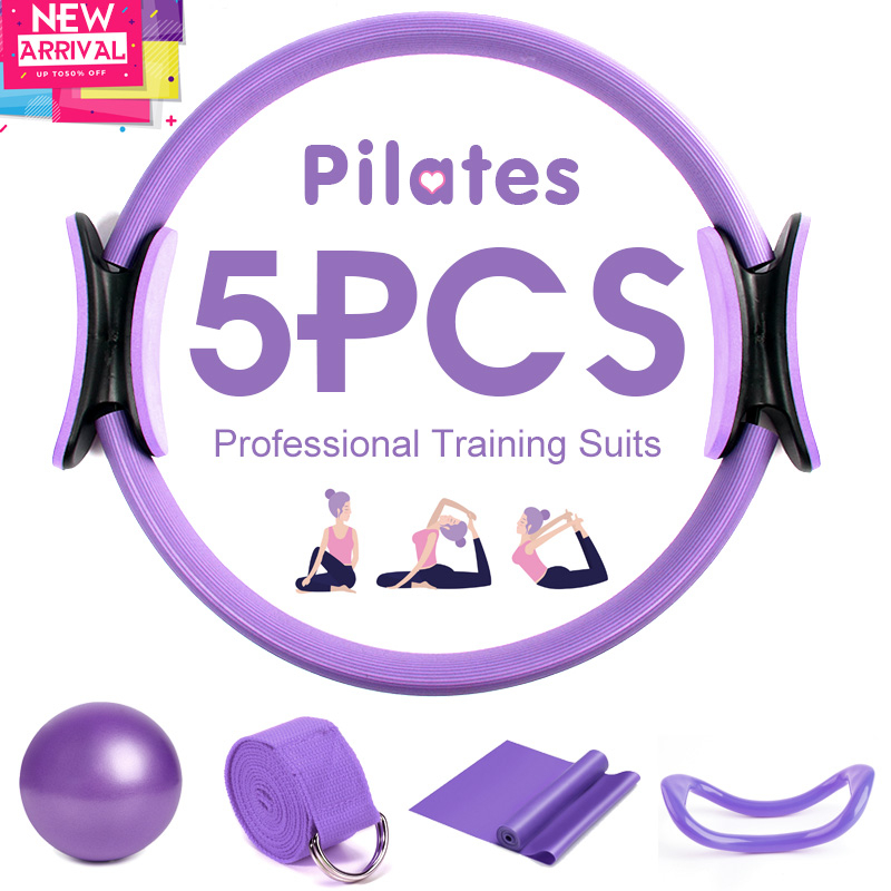 5PCS Yoga Ball Magic Ring Pilates Circle Exercise Equipment Workout Fitness Training Resistance Support Tool Stretch Band Gym