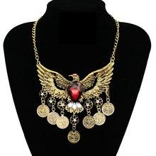 лучшая цена 2019 Fashion Choker Collar Bohemian Eagle Maxi Pendant Necklace Ethnic Vintage Statement Tassel Coin Necklace For Women Jewelry