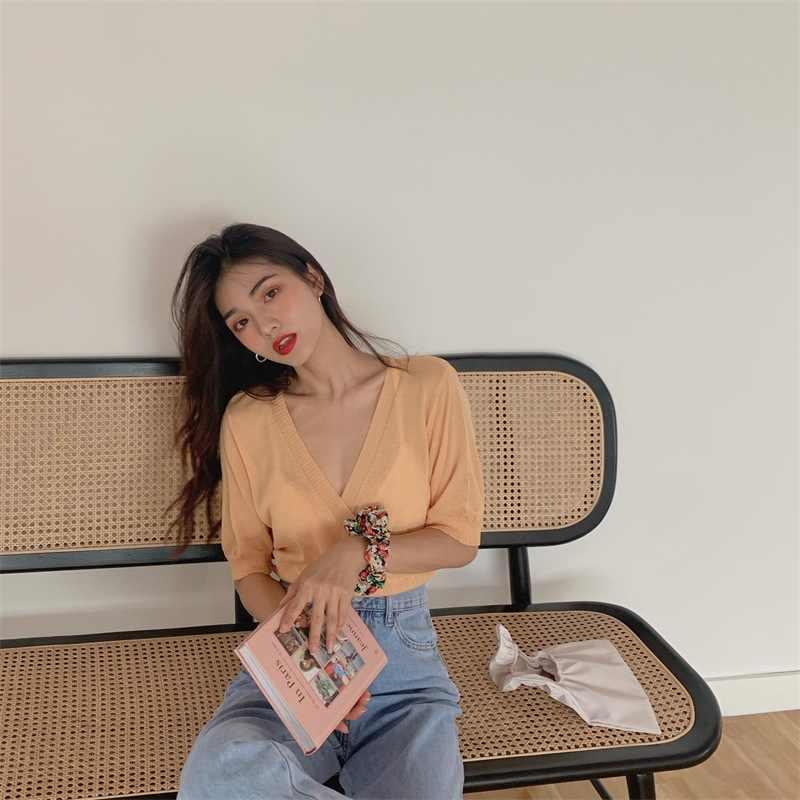קיץ קוריאני גרסה של דק צלב עיצוב סוודר מותניים V-צוואר בסוודרים קצר שרוול למעלה