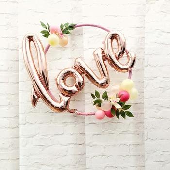 Carta de amor, globo de aluminio, decoración de aniversario, boda, San Valentín, fiesta de cumpleaños, copa de champán, accesorios para fotomatón