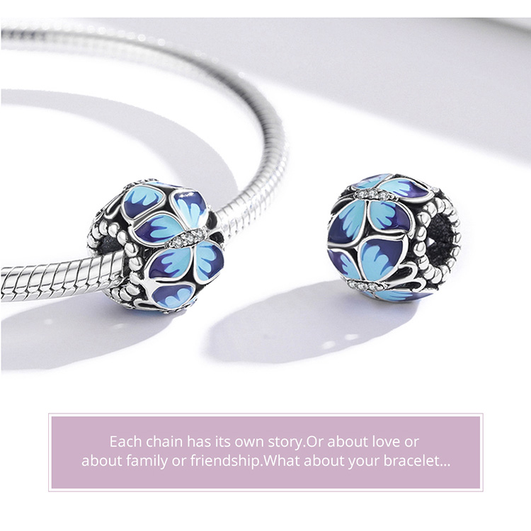 Stackable Vintage Butterfly Beads 925 Sterling Silver Round Enamel Charm Fit Women Original Bracelet & Bangle DIY Jewelry