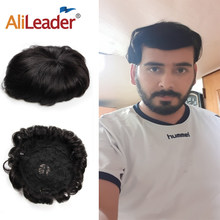 Alileader Toupees For Men Natural Human Hair Mens Wigs Hot Selling Hair Prosthesis 150% Density Hair Unit For Men(China)