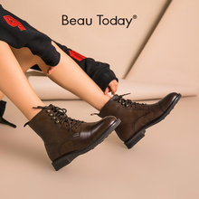 BeauToday Women Ankle Boots Genuine Cow Leather Lace-Up Round Toe Top Quality Autumn Winter Ladies shoes Handmade 03086