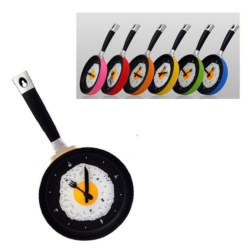Frying Pan Bell Wall Hanging Clocks Home Decoration Art Watch Kitchen Cutlery Utensil Furnishing Kitchenware 2018 Fashion Style