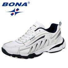 Bona novos designers vaca dividir tênis de corrida dos homens rendas até sapatos masculinos ao ar livre andando jogging sapatos esportivos homem confortável