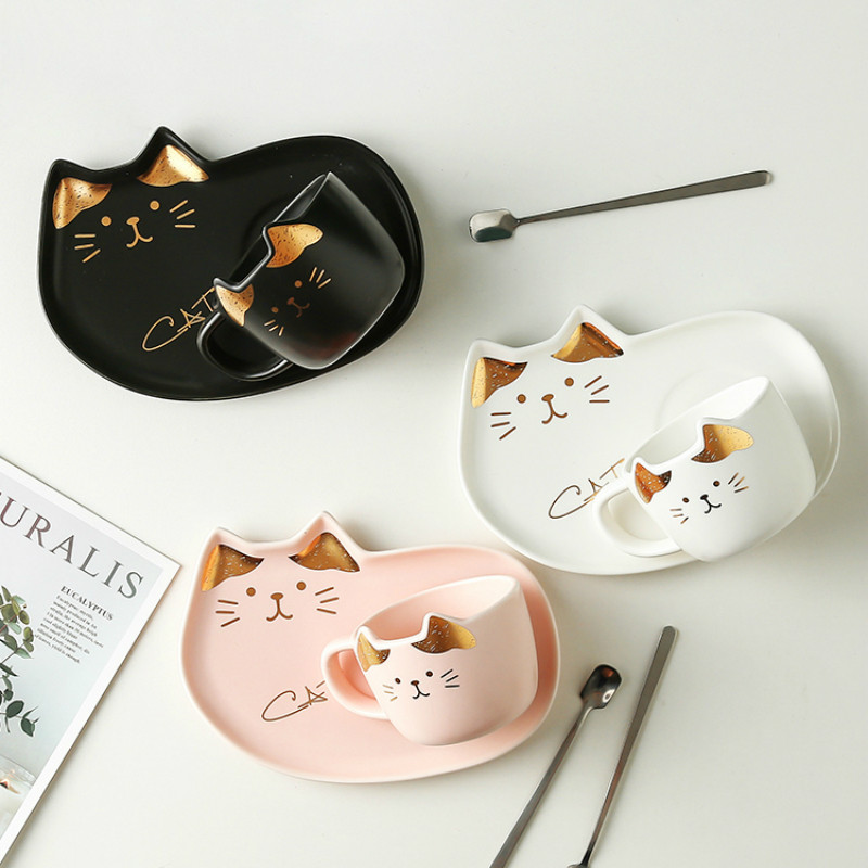 Ceramic <font><b>Coffee</b></font> <font><b>Cup</b></font> <font><b>Set</b></font> Cartoon Cat Tea <font><b>Cup</b></font> with Saucer Spoon Breakfast Milk <font><b>Coffee</b></font> Mug Bread Dessert Dish Porcelain Pet Cat image
