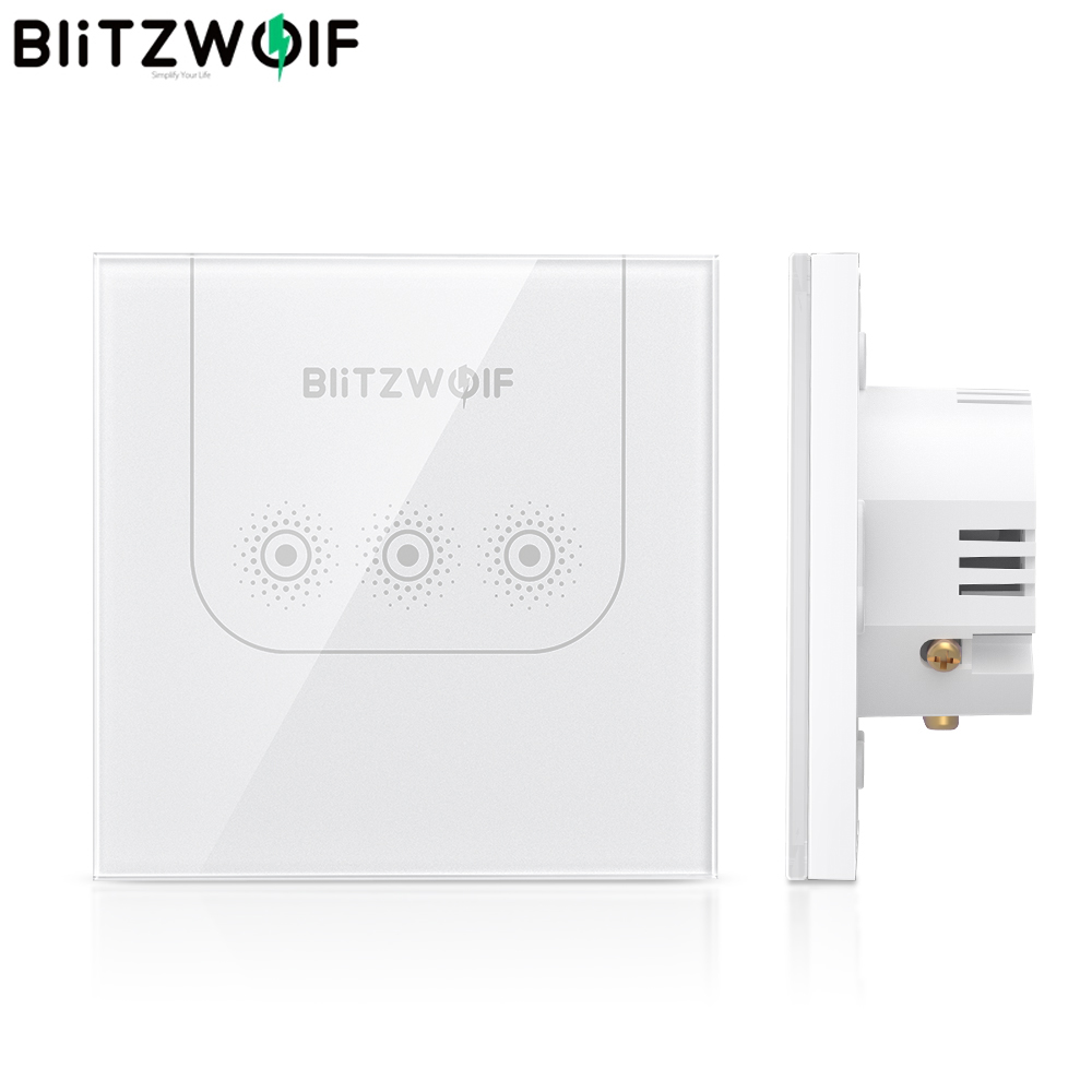BlitzWolf BW-SS3 10A WIFI Touch Remote Control Wall Smart Switch Tempered Glass Panel Work With Amazon Alexa / Google Assistant