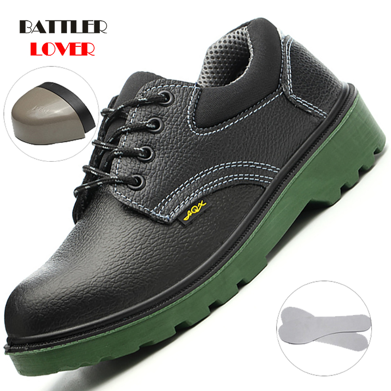 Steel Toe Men Cow Leather Work Shoes Anti-smashing Anti-slip Steel Puncture Proof Construction Classical Man Safety Boots Unisex
