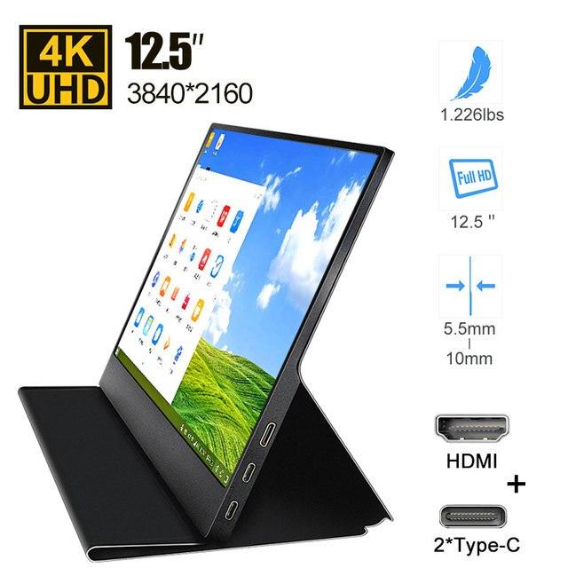 Игровой монитор 12,5 дюйма, 4k, USB C, портативный монитор для Switch Xbox, Ps4, Mac, Huawei, телефона, ноутбука, камеры, ТВ приставки, дисплей, ЖК экран
