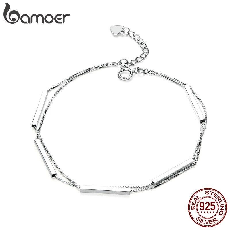 Bamoer 925 Sterling Silver Double Layers Chain Bracelet Geometric Lobster Lock Bracelet For Women Fashion Jewelry SCB170