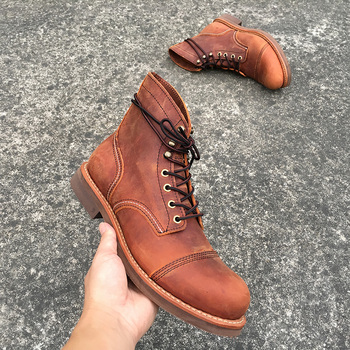 Yomior New Style Genuine Leather Wings Men Shoes Round Toe Casual Ankle Boots Lace-Up Spring Winter Dress Motorcycle Boots mycolen brand quality genuine leather winter boots comfortable black men shoes men casual handmade round toe zip wear boots