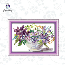 Joy Sunday,Vase,cross stitch embroidery kit,11CTor14CT Printed Fabric,cross kits needlework sets