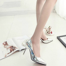 QWEDF 2019 New Spring Autumn Women Pumps Sexy Silver High Heels Shoes Fashion Pointed Toe Wedding Shoes Party Women Shoes YA-09 crystal bride wedding shoes 2018 new bridesmaid wedding shoes with high heels women pointed sequins silver shoes