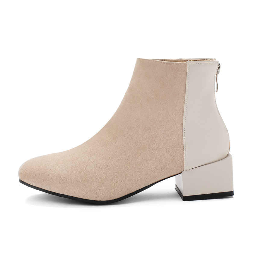 QUTAA 2020 Akın Patchwork Fermuar Tüm Maç Kadın Ayakkabı Yuvarlak Ayak Kare Orta Topuk Sonbahar Kış moda yarım çizmeler Size34-43