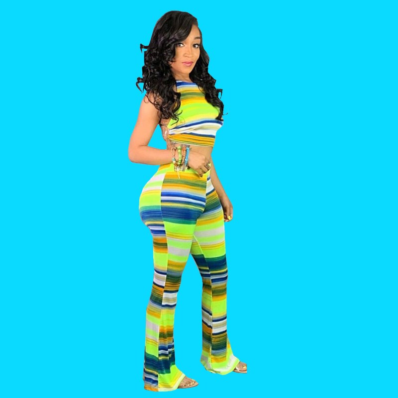Nice Women Striped Print Colorful Suits Summer Sleeveless Backless Two Piece Sets Crop Top And Wide Leg Pants Outfits