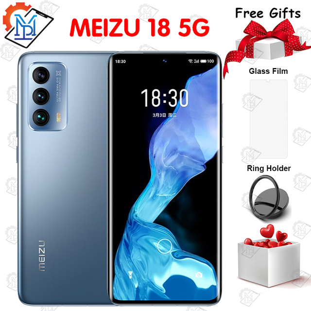 New Original Meizu 18 Mobile Phone 6.2 Inch Screen 8G+128G Snapdragon 888 Octa Core Android 11 Fast Charging 36W NFC Smartphone 1