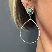 Rongyu 2020 new fashion big drop turquoise earrings retro plated 925 exaggerated earrings in Europe and the United States(China)
