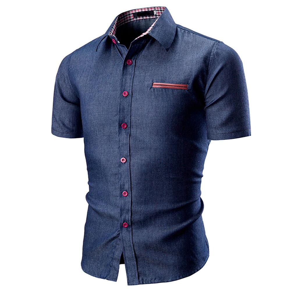 Men Shirt Fashion Solid Color Male Casual Short Sleeve Shirt Men's Slim Shirt Top Blouse Casual Collar Male Blouse