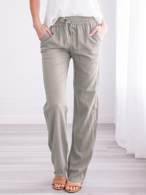 Summer Women's Cotton Linen Drawstring Loose Wide-Leg Pants Hot Sale Long Trousers With Pocket WDC4496 6