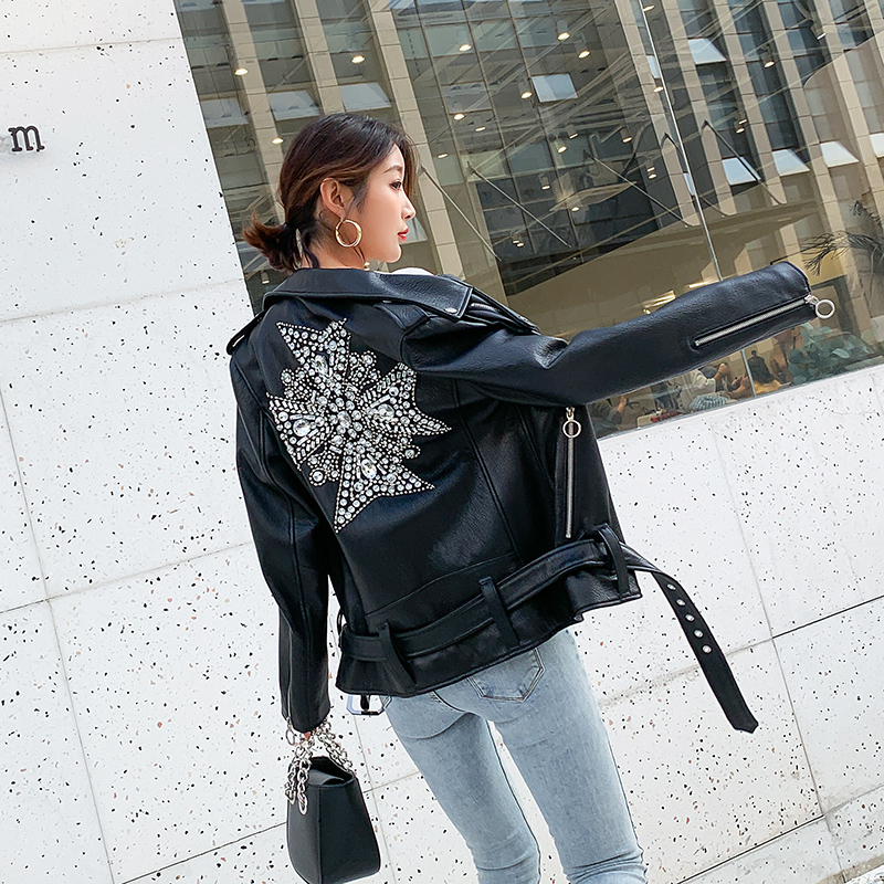 Woman Coats 100% Natural Leather Sheepskin 2019 Fashion Real Sheepskin  Motorcycle Jackets Rivet Genuine Leather  Ladies Jack