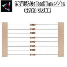 100pcs 1/6W 5% Resistor de Filme de Carbono 1 620R 680 750 820 910 K 1.2K 1.3K 1.5K 1.6K 1.8K 3 2K 2.2K 2.4K 2.7K K 3.3K ohm