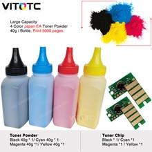 Microplaquetas coloridas da restauração do pó dos cartuchos de toner de 4 pces compatíveis para o workcentre 6510 6515 n dn dni de xerox grande capacidade
