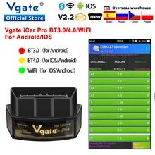Original vgate icar pro bluetooth 4.0 obd 2 elm327 v2.2 icar2 obd2 scanner elm 327 odb2 ferramenta de diagnóstico para android/ios