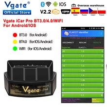 ماسح ضوئي للسيارة Vgate iCar Pro مع Bluetooth 4.0 ، أداة تشخيص تلقائية ، OBD 2 ، ELM327 ، V2.2 ، iCar2 ، OBD2 ، ELM 327 ، لـ Android/IOS