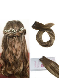 Moresoo Hair Weft-Machine Human-Hair-Extensions Hair-Weaving/weft 100g-Per-Bundle Natural