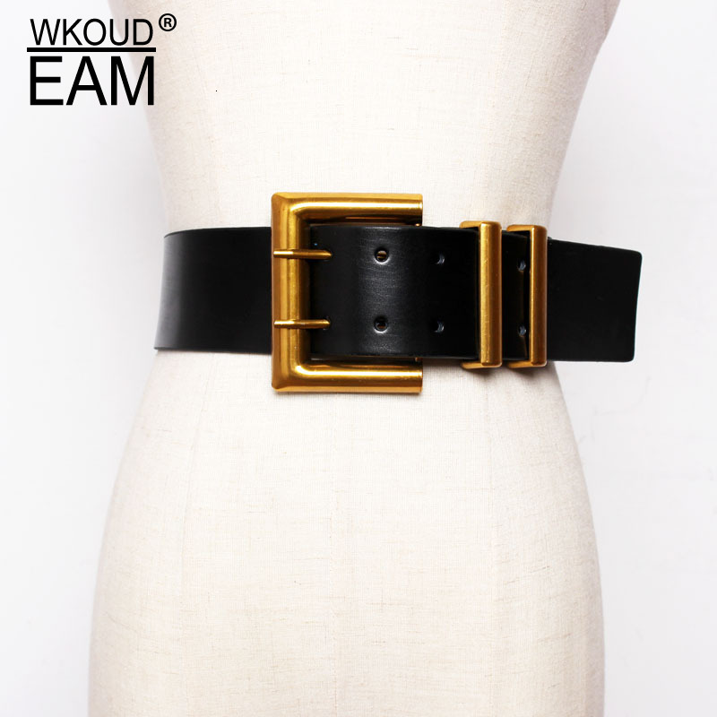 2020 New Spring Trendy Wid Belt For Women Solid Casual Fashion Waistband All-match Metal Buckle Leather Corset Belt Female ZK093