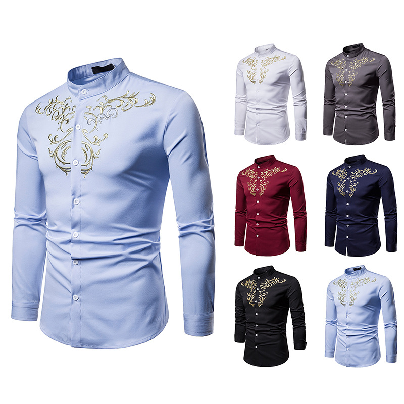 Men Shirts Luxury Casual Gold Embroidery Long Sleeve Shirt Top Blouse Autumn Winter Camisa Slim Fit Masculina Party Wear DT1799