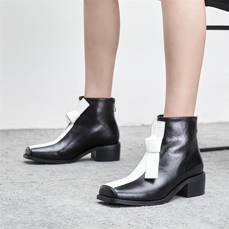 Image 4 - FEDONAS New Comfortable Western Boots Party Office Shoes Woman Quality Genuine Leather Women Ankle Boots Winter Warm High Heels-in Ankle Boots from Shoes