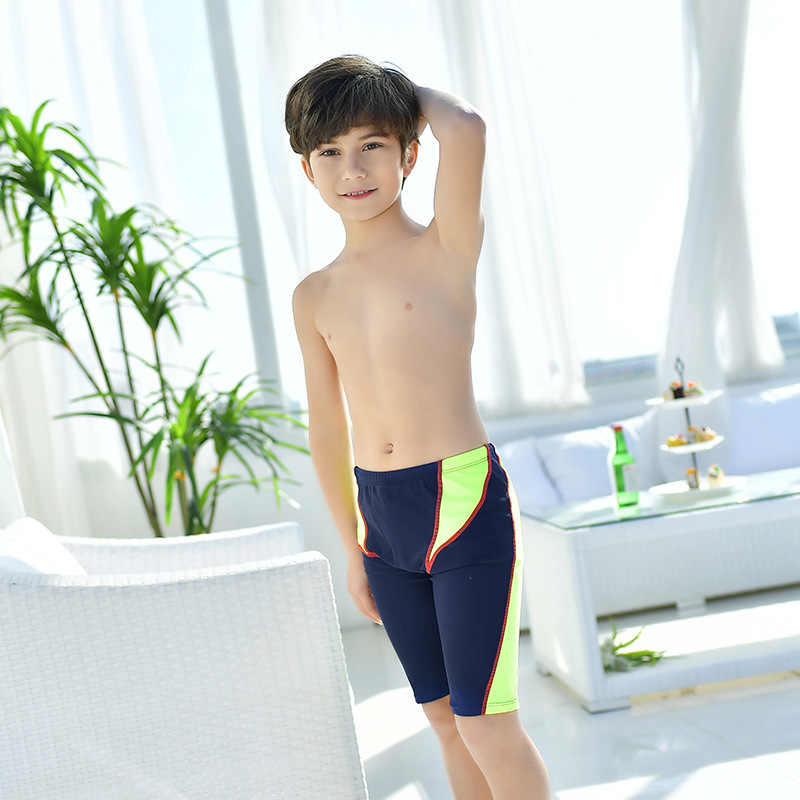2018 New Style Hot Sales BOY'S Swimming Trunks Quick-Dry Ultra-stretch Hot Springs Solid Color Boxer Shorts In Boys CHILDREN'S S