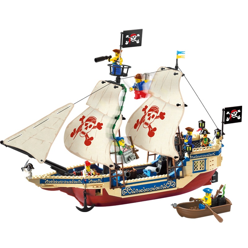 Models building toy 311 487Pcs Pirates Series Ship Educational Building Blocks Compatible With Lego toys & hobbies for children