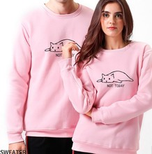 not today women hoodies harajuku japanese pink sweatshirt womens cats streetwear casual letter pullovers love plus size