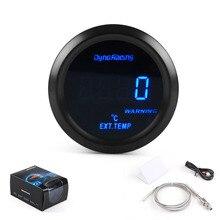 """Dynoracing 2 """"52 мм Датчик температуры выхлопного газа цифровой датчик температуры выхлопного газа синий светодиод EXT датчик автомобиля с датчико..."""