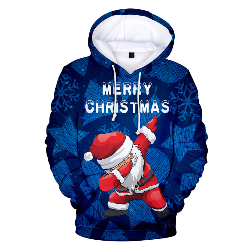 Christmas 3D Print Hooded Sweater Unisex Men Women Santa Claus Christmas Novelty Ugly Christmas Sweater Snowman Warm Sweater