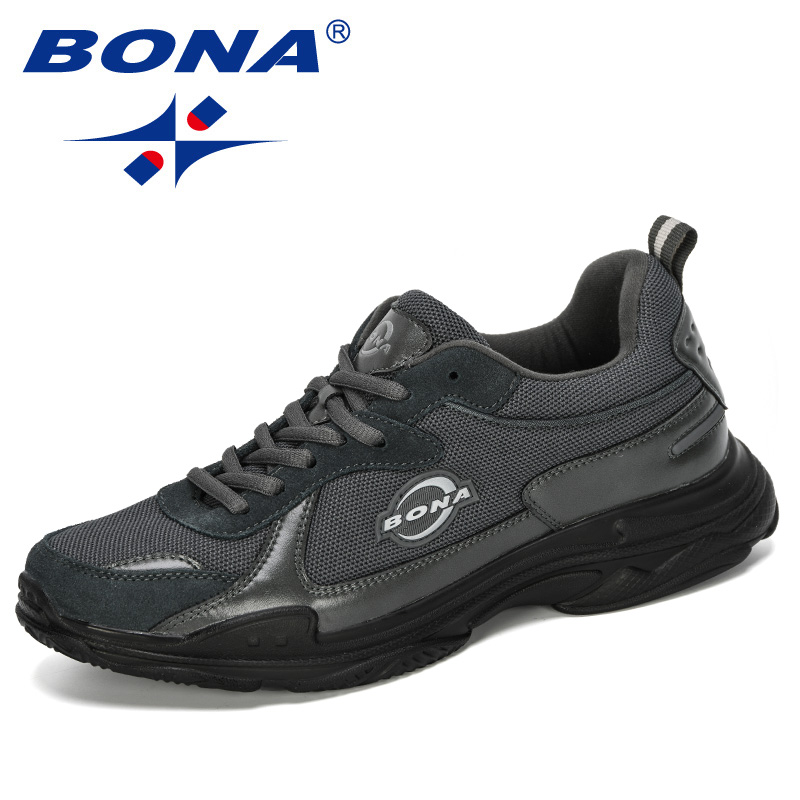BONA 2019 New Designer Casual Shoes Lace-Up Men Lightweight Trainers Walking Sneakers Tenis Feminino Zapatos Leisure Footwear