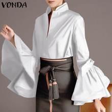Elegant Tops VONDA Shirts Turtleneck Flare-Sleeve Blusas Loose Autumn Femme Casual 5XL