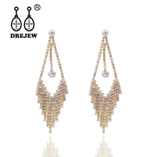 DREJEW Korean Long Tassel Rhinestone Statement Earrings Gold Silver Rose Crystal Drop for Women Fashion Jewelry HE373